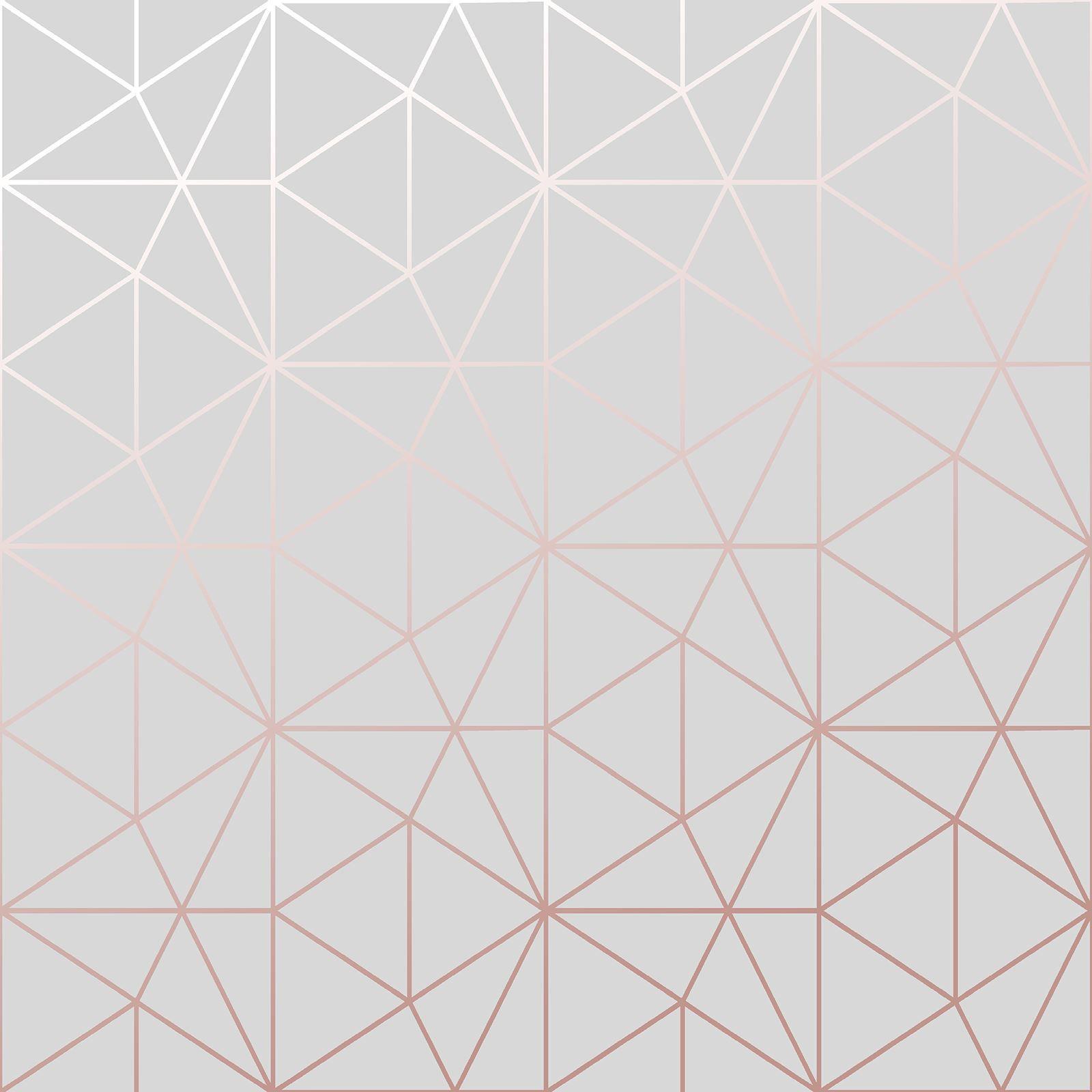 Rose Gold Pink Wallpaper Metallic Smooth Textured Stripe Geometric