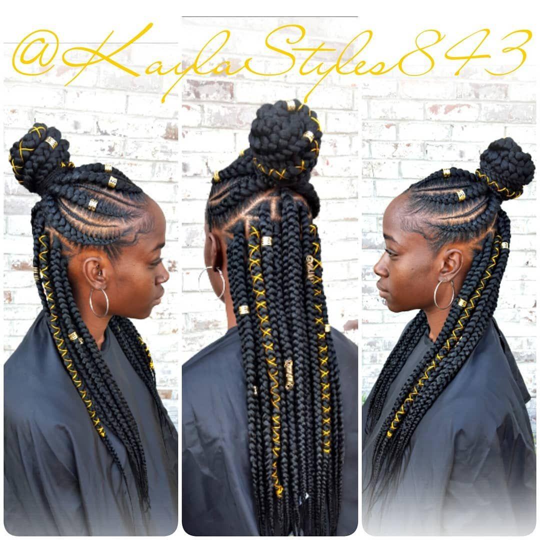Half up half down Ghana braids! DM me for more info ...