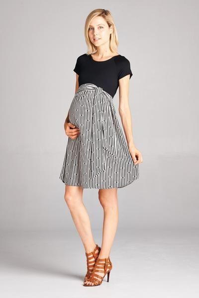 Pin Stripe To Win Maternity Dress Black White Maternity Wear