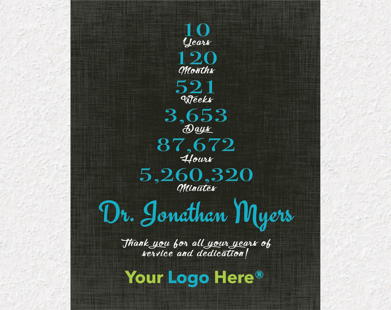 10 Years Work Anniversary Gift 10 Year Service Gift Idea Etsy Work Anniversary Gifts Work Anniversary Employee Appreciation Gifts