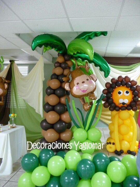 Wild jungle baby shower party planning pinterest for Baby shower jungle theme decoration ideas