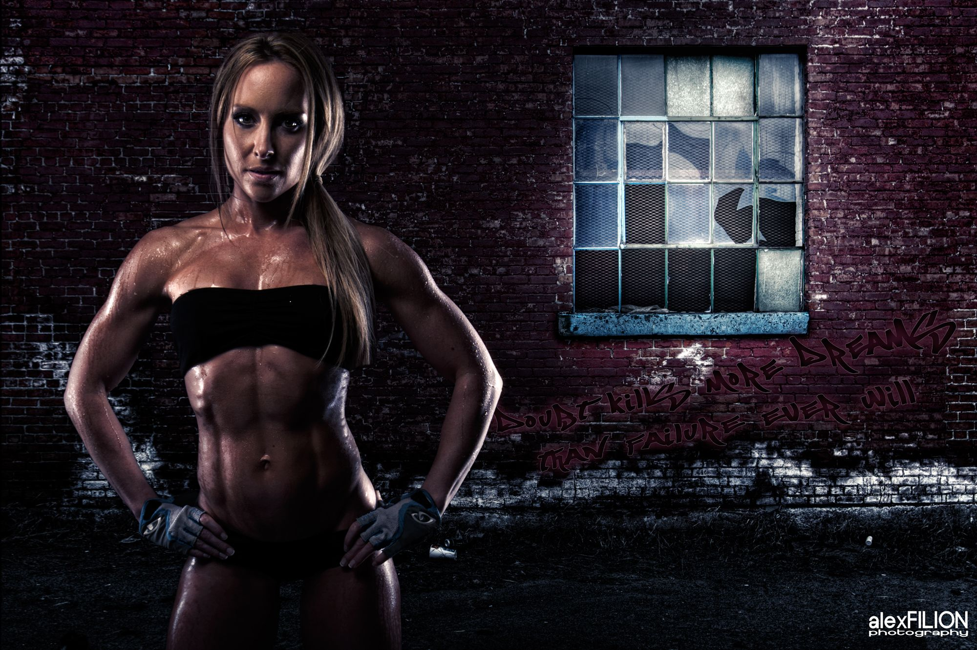 HDR fitness composite with National Figure Competitor.
