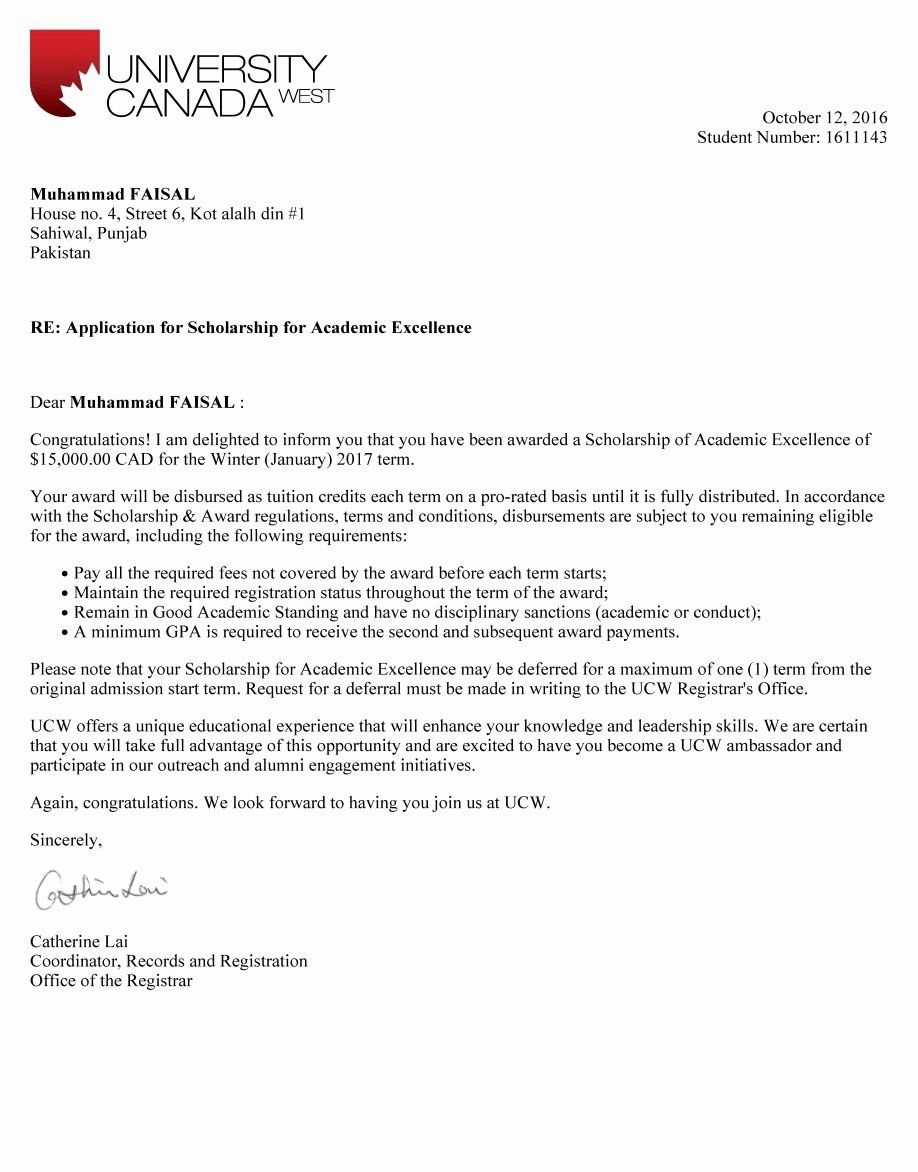 Scholarship Award Letter Templates Unique Scholarship