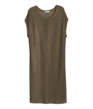 Kleid in Rippenstrick | Dunkles Khakigrün | Damen | H&M DE ...