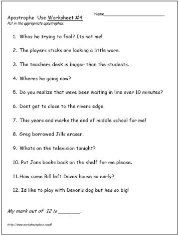 Apostrophe-Worksheet-4 | g | Grammar activities, Kids education, Grammar