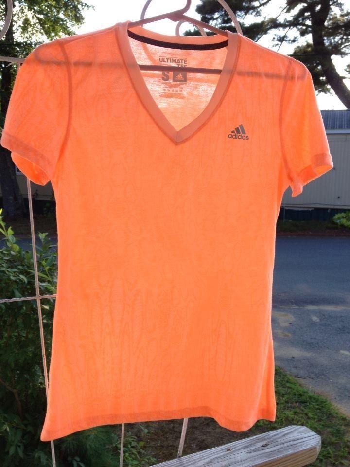 Adidas Women's Activewear Top Orange Size Small Short Sleeve Shirts ClimaLite #adidas #ShirtsTops