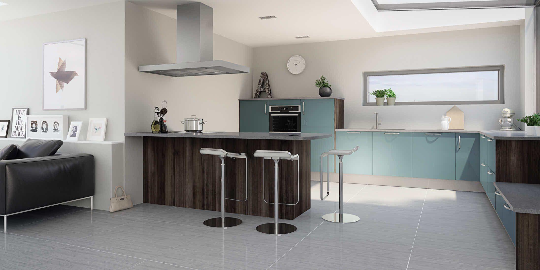 Ilot Central Table Coulissante ~ Cuisine Hygena Mod Le Astral Bleu Style Design Avec Surflancs