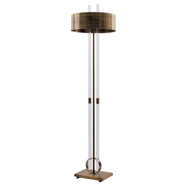 Acrylic & Brass Floor Lamp - Black Rooster Decor