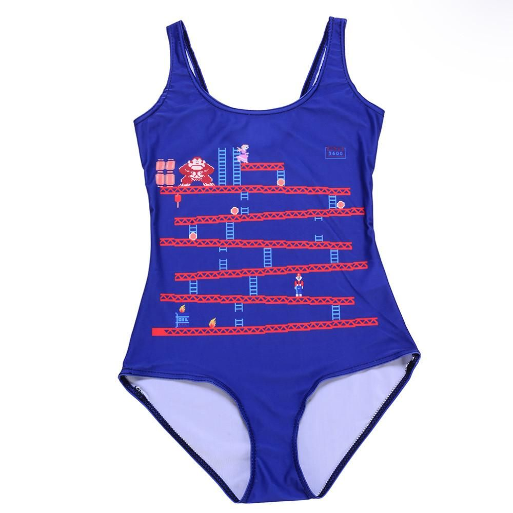 Swimwear Women Donkey Kong Swim Beach Wear Punk Bodysuit One Piece ...