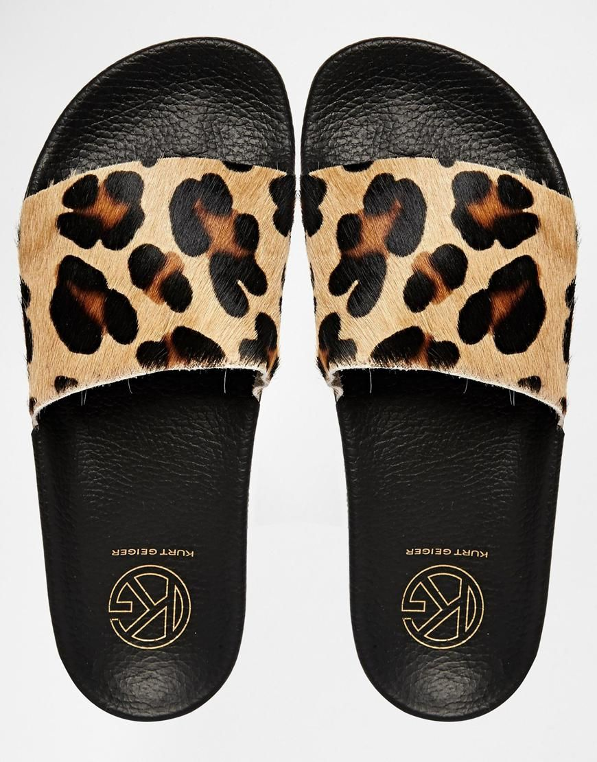 c75fb64fb36c KG By Kurt Geiger Leopard Print Slider Flat Sandals | Shoes ...