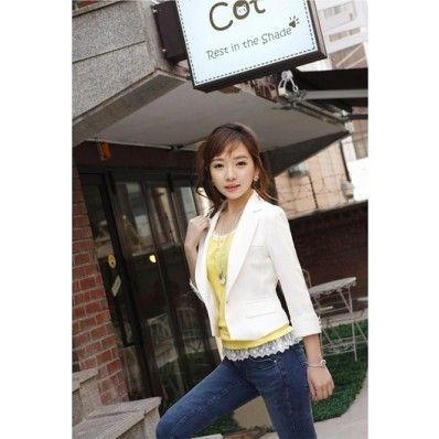 ワンボタン・ショート丈・テーラードジャケット ホワイト size:M クーポンコード:ANYTIME11%OFF