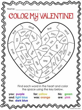 Valentines Day Coloring by Sight Words Free Printable  Valentines
