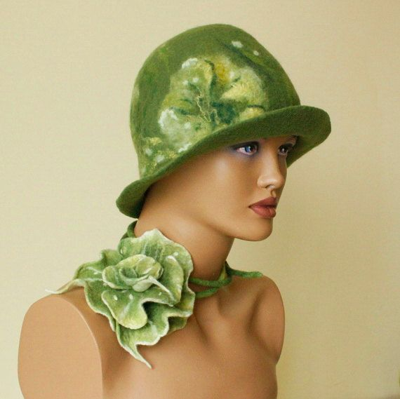 Olive green hat Felted hat green felt hat green by ZiemskaArt, $99.00