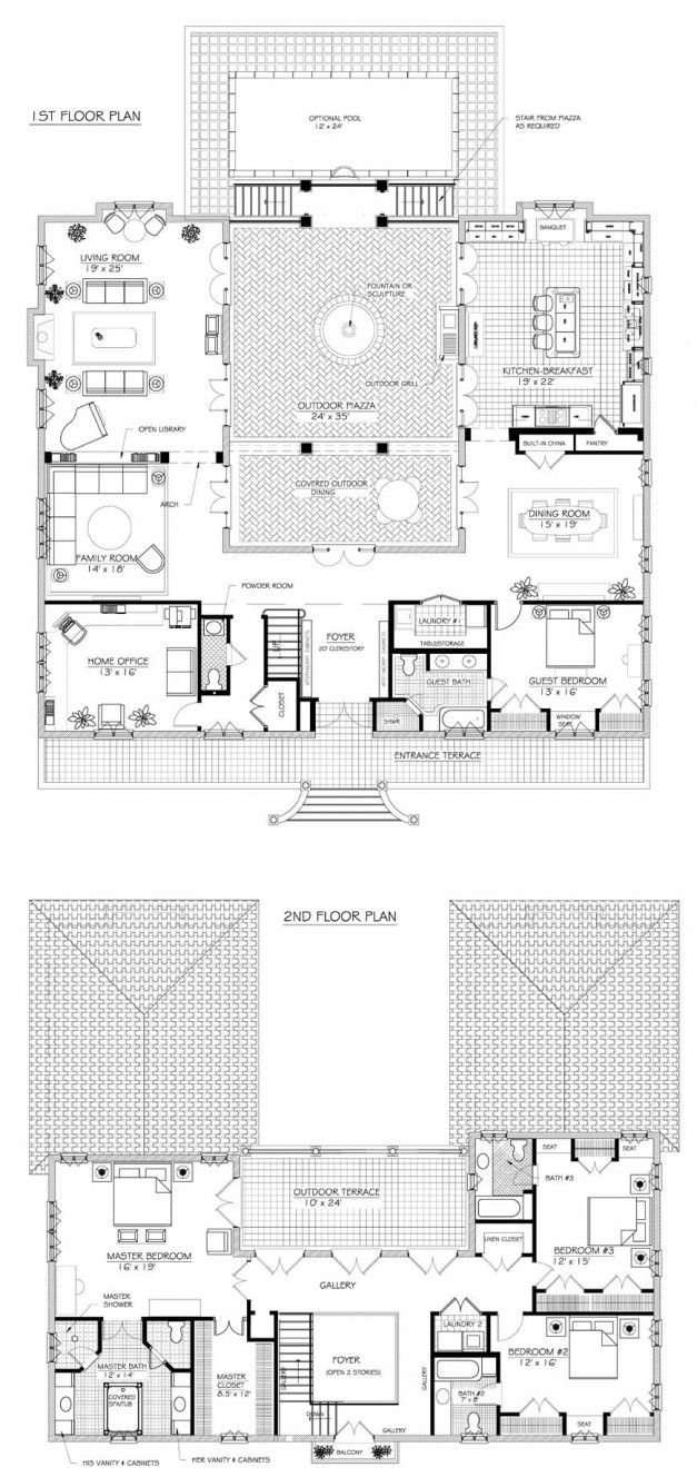 French Provincial Country House Plan Modern French Style Home Courtyard House Plans French House Plans Farmhouse Floor Plans