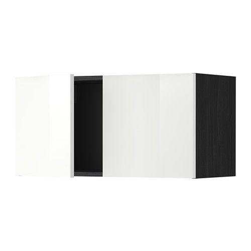 METOD Veggskap med 2 dører - tremønstret svart, Ringhult høyglans hvit - IKEA