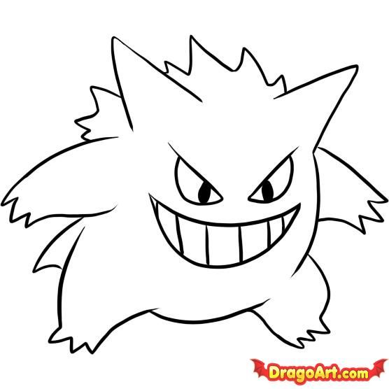 How To Draw Gengar By Dawn Pokemon Coloring Pages Pokemon
