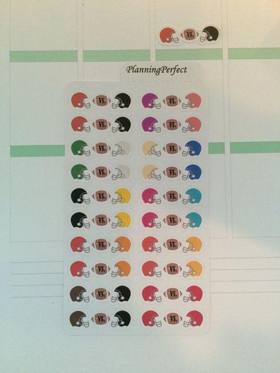 Football Vs. Stickers for Erin Condren Kikki-K by PlanningPerfect  #planner #stickers #erincondren #lifeplanner #kikkik #plumpaperplanner #filofax #planning #scrapbook #football #tracking #games #superbowl #match #vs #helmet #sport #americanfootball