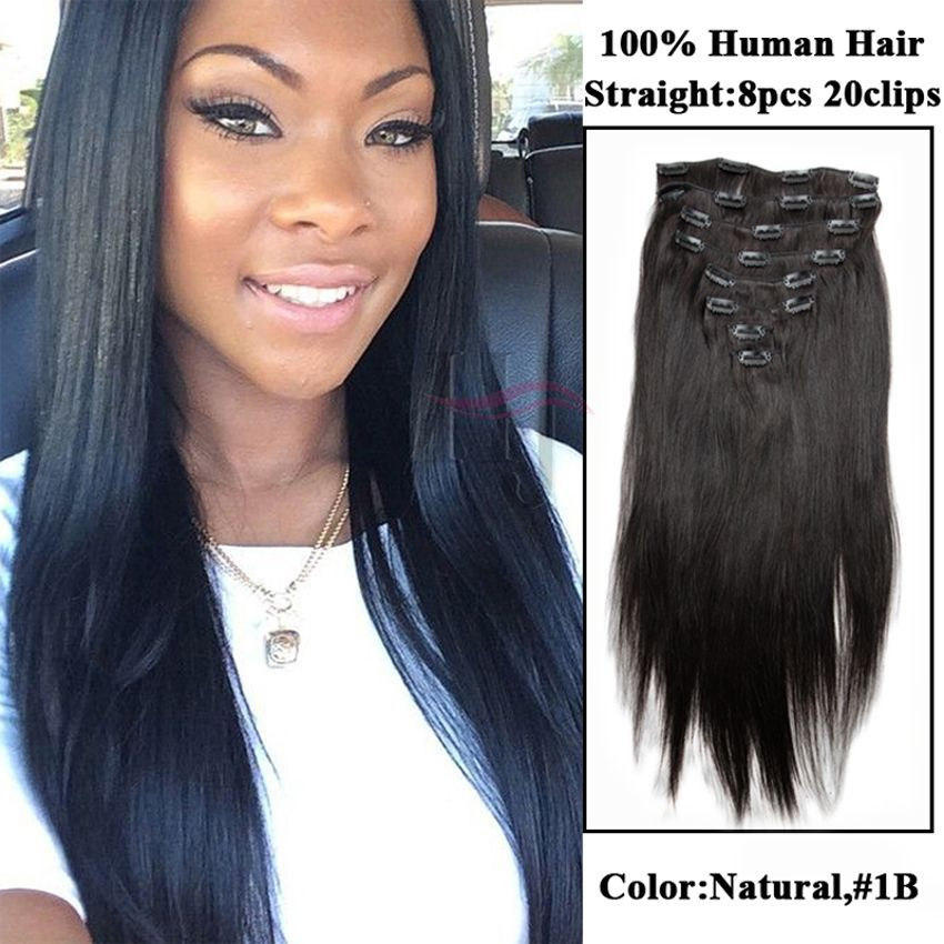 Natural Color Straight Clip In Brazilian Human Virgin Hair African