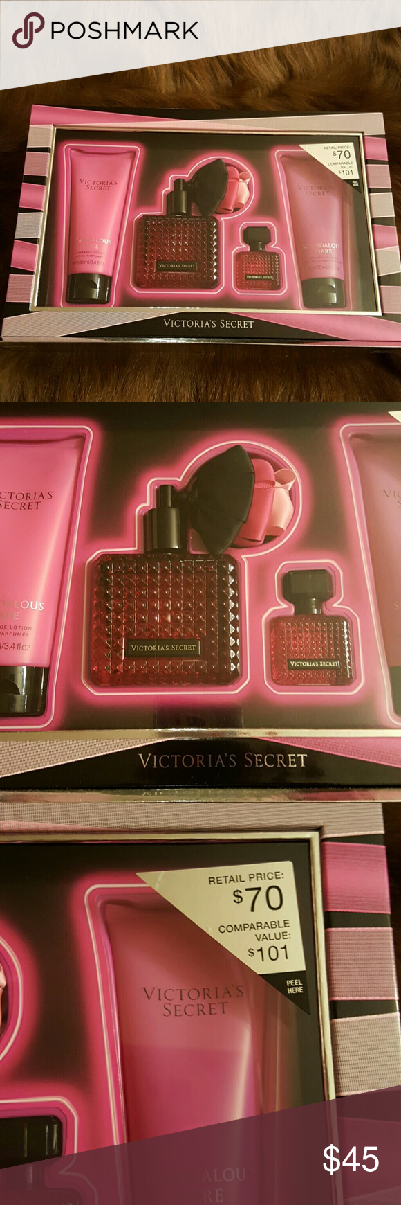 Victorias Secret Scandalous Dare set Perfume Set. As you can see this retails for $70. I'm letting it go for $45.  Hurry it won't last at this price. No low ball offers please. Remember as,a seller we are charged a fee to sell. Your saving the tax also. I paid it on the $70. Victoria's Secret Other