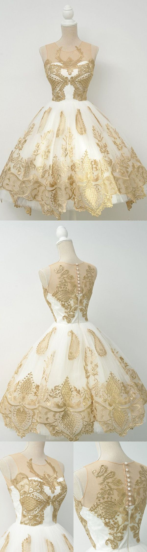 White sheer ball gown homecoming dressessleeveless gold lace up