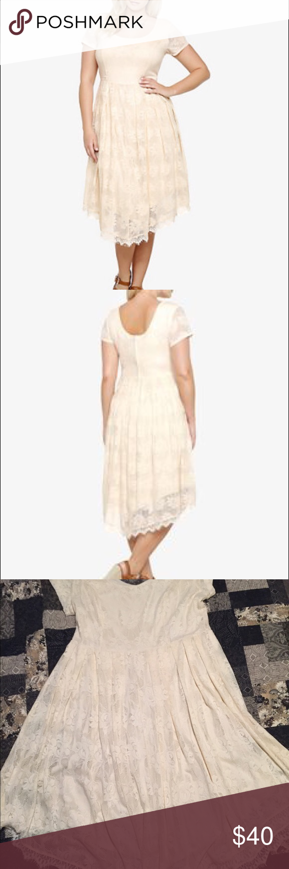 Lace dress torrid  OffWhite Lace VHemline Skater Dress Never worn Totally beautiful