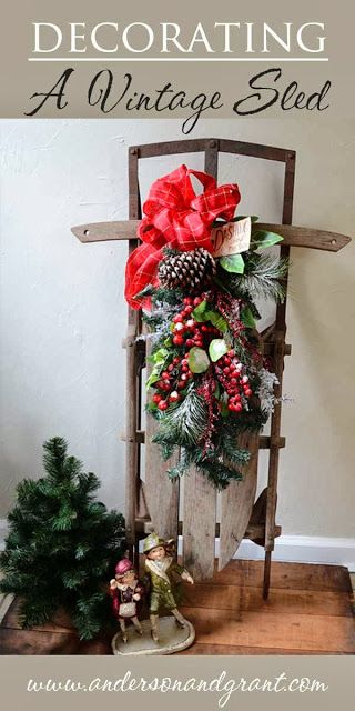 Antique Sled Decorating Ideas.Decorating A Vintage Sled For Christmas Christmas
