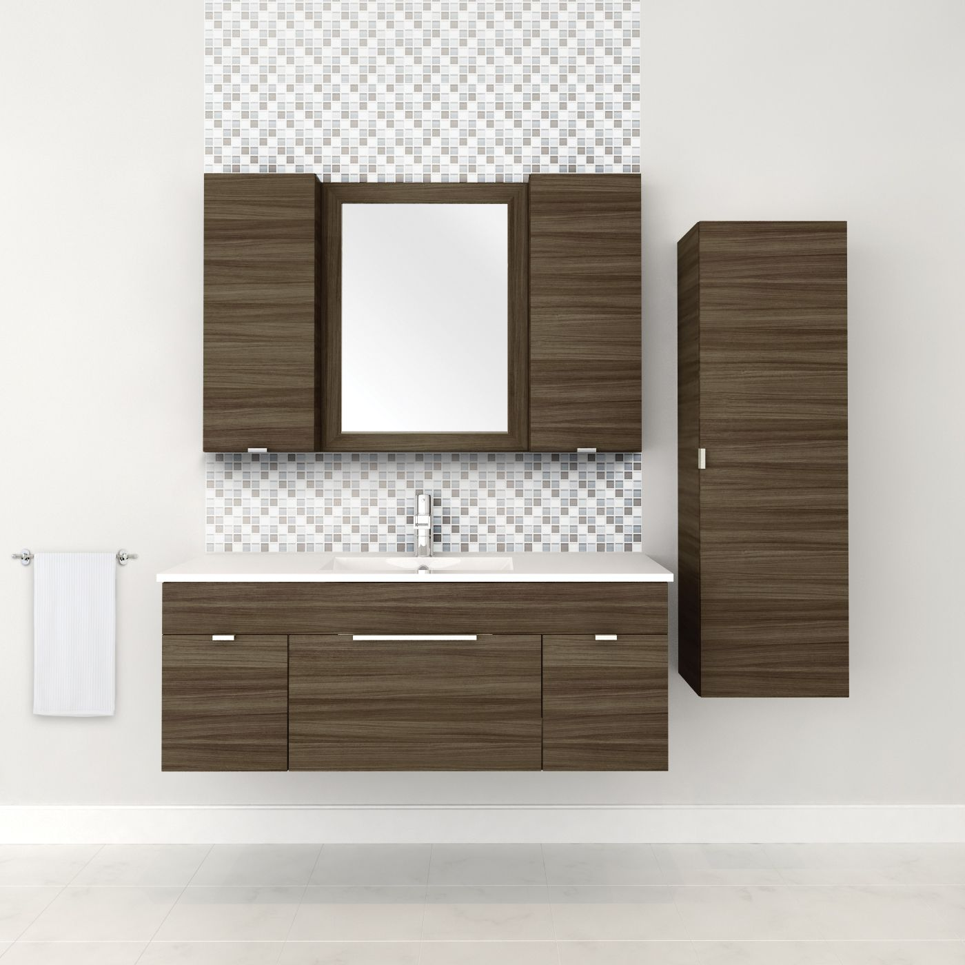 48 2 Door 1 Drawer Floating Vanity With Linen Cabinet In Driftwood Bathroom Design Homedecor Interiordesign Lightwood Lightcabinets