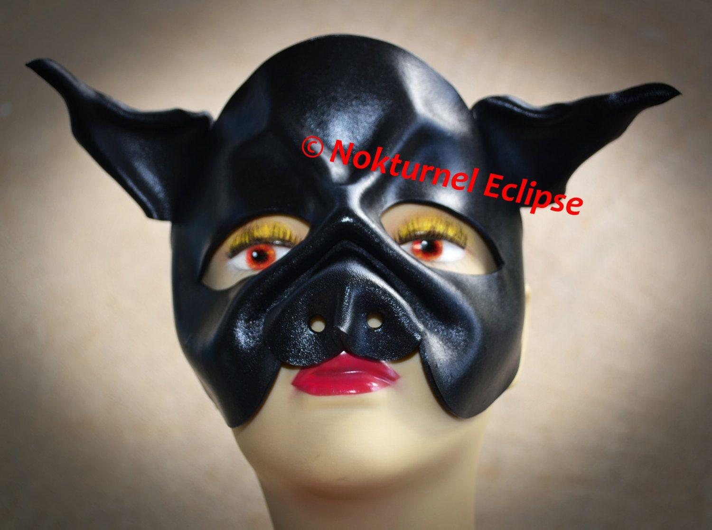 BLACK Pig Leather Mask by Nokturnel Eclipse Fetish Masquerade ...