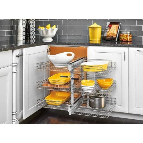 Rev A Shelf 5psp3 15sc 5psp Series 26 25 Wide Three Tier Blind Corner Pull Out Base Organizer With Soft Close Slides Chrome Kitchen Cabinet Pulls Blind Corner Cabinet Rev A Shelf