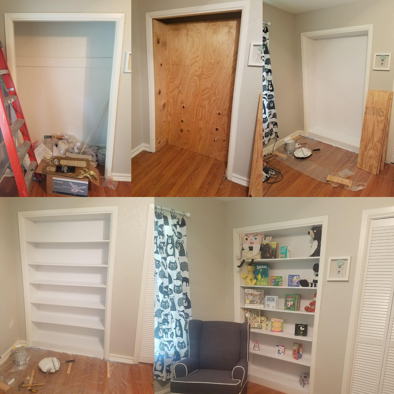 Turned An Extra Closet Into A Bookshelf Handmade Crafts Howto Diy Jpg 2896x2896 Bookshelves