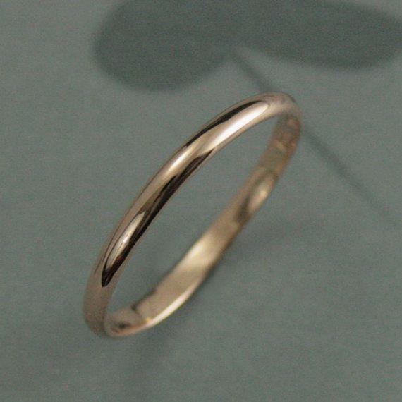 Thin Full Round Rose Gold Band--1mm Round Stacking Ring--10K Rose Gold Ring--Rose Gold Spacer Ring--Rose Gold Women/'s Thin Wedding Band