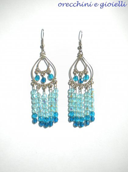 """""""Nettuno"""" Earrings $18: Sterling Silver Chandelier And Azure And Blue Half Crystals Earrings"""
