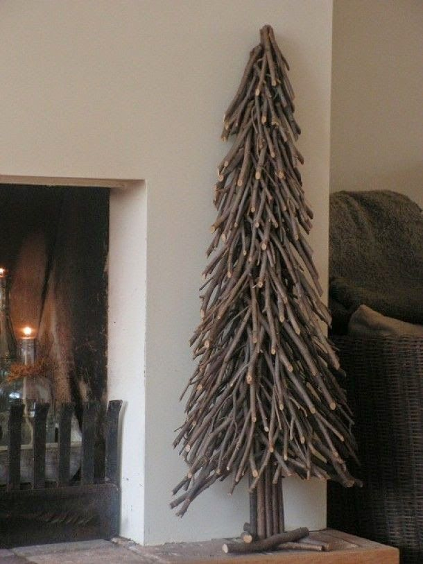 Time to gather twigs and branches to make a Christmas tree... this is cool