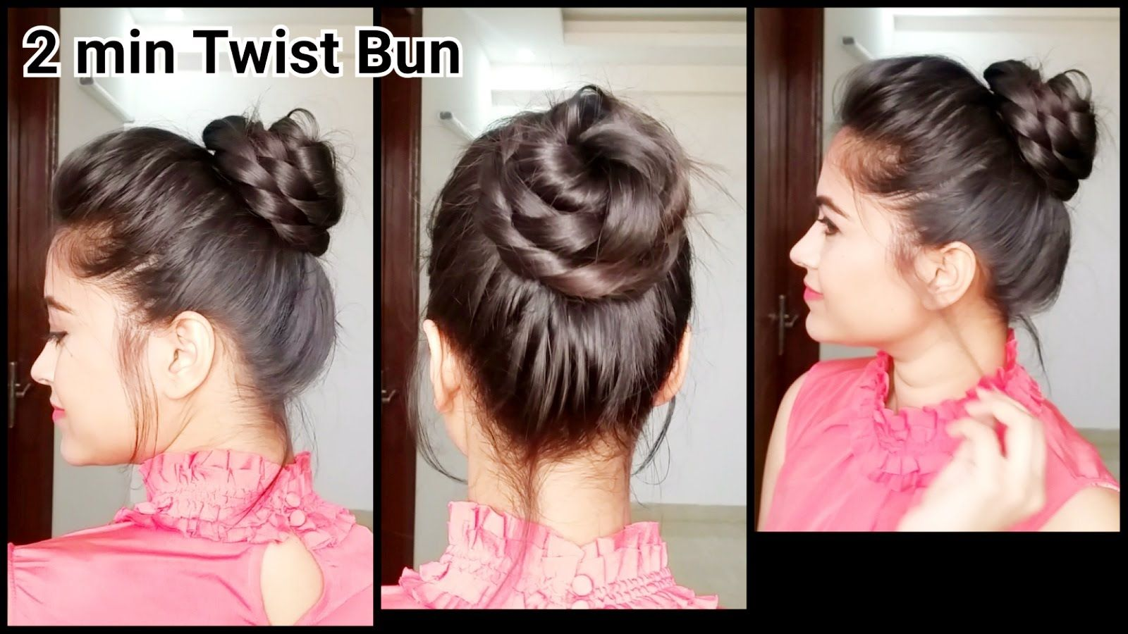 2 Min Twist Bun Everyday Easy Hairstyles For Medium To Long Hair Indian