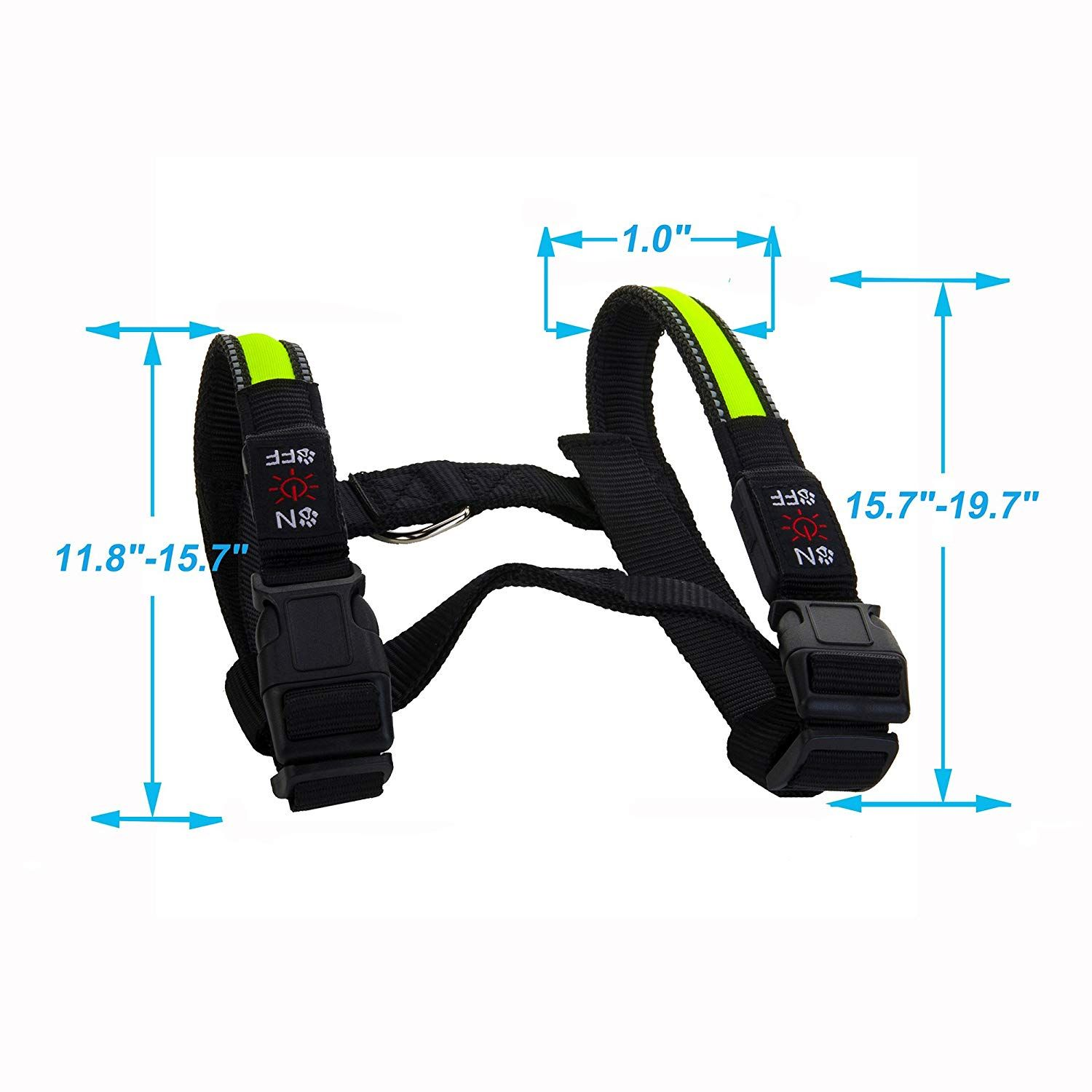 Kingkok Adjustable LED Dog Collar Rechargeable USB