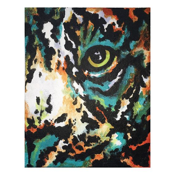 This is a print of my #original #acrylic #tiger face. I really #love how #colorful this piece actually is. It would make a great accent in any room. #cashwellcreations #art #painting