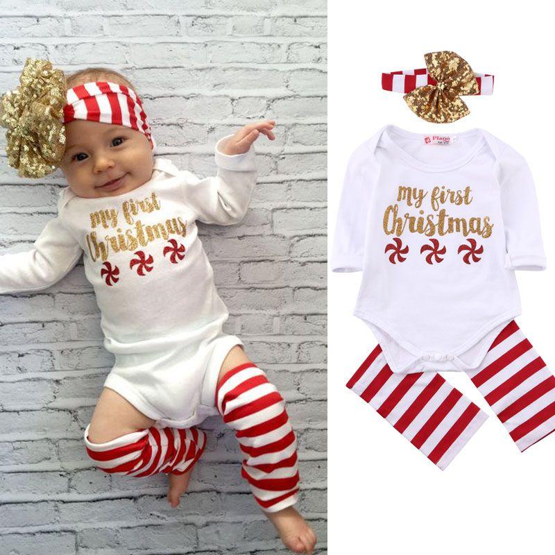 2c1c58265 3 pcs. Christmas Set! Newborn Baby Girl With Long Sleeve Sliders + ...