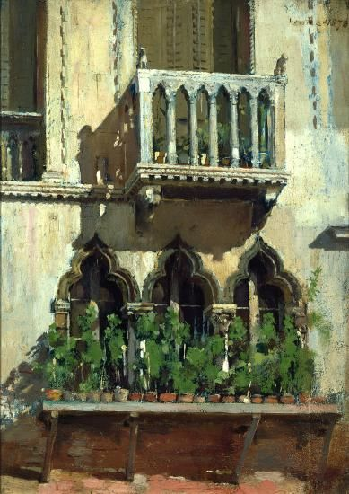 """Venice Facade,"" William Merritt Chase, 1878, oil on panel, 13 3/4 x 10"", Colby College Museum of Art."