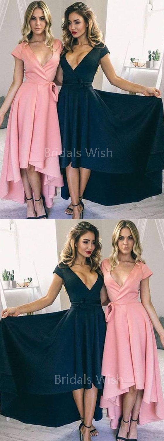 Elegant pinkuteal deep vneck highlow long evening prom dresses
