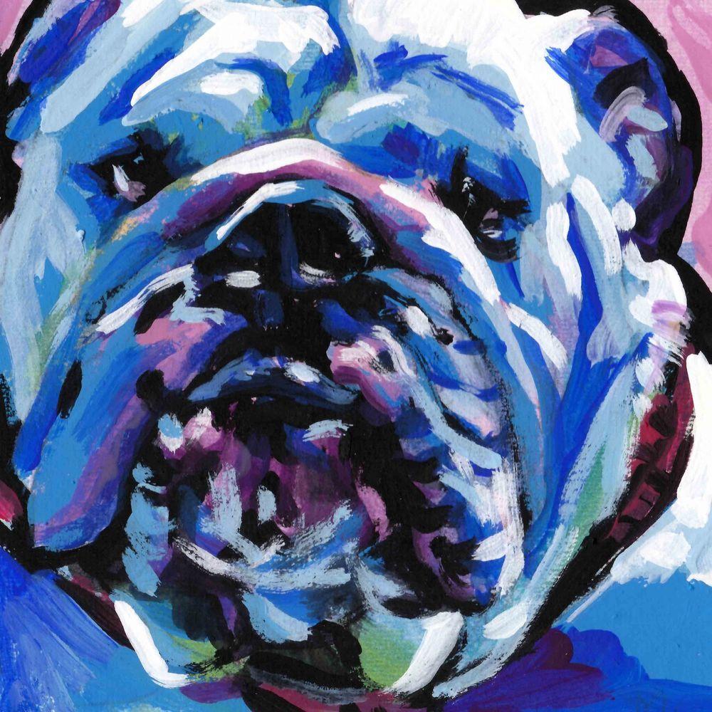 English Bulldog Dog Portrait Art Print Of Bright Color Pop