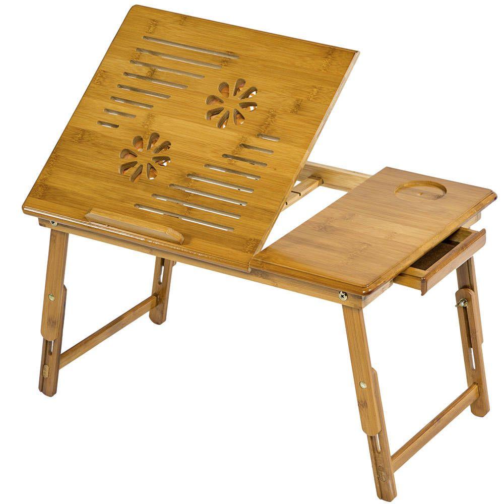 Laptoptisch aus Holz, höhenverstellbar, mit USB