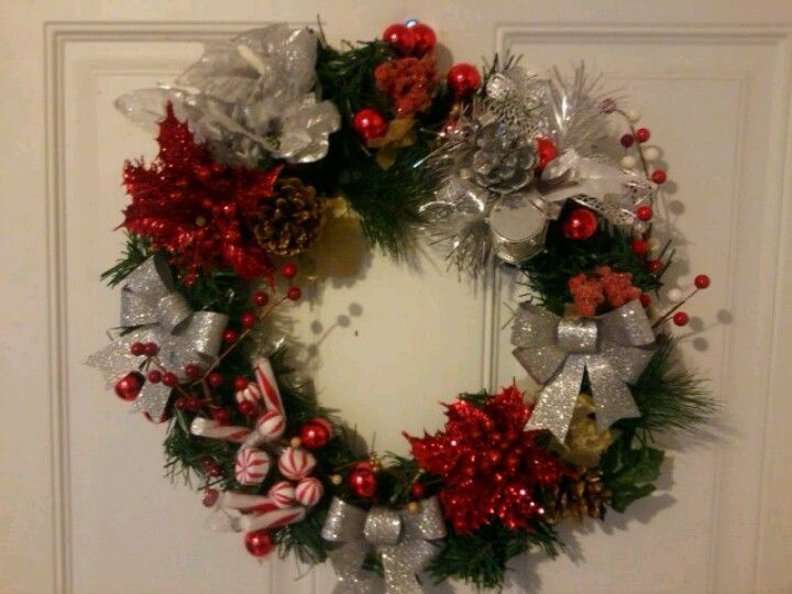 Red  silver Christmas wreath- easy to do yourself Hobby lobby is a