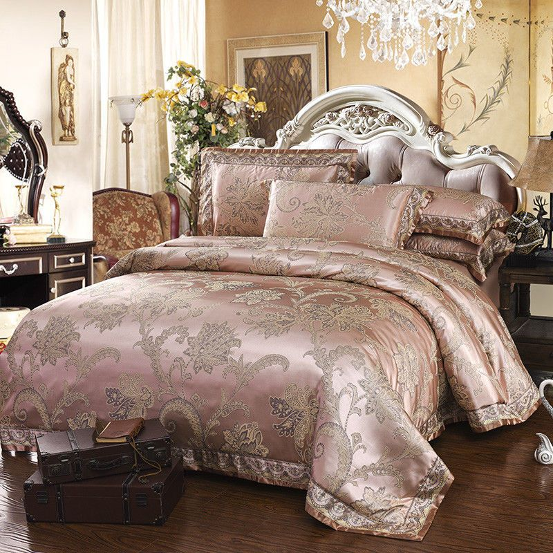 European 4pc 6pc Champagne Jacquard Silk Cotton 400tc Duvet Cover Bedding Set Ivarosehome Jacquard Green Bed Sheets King Size Duvet Covers Red Bedding