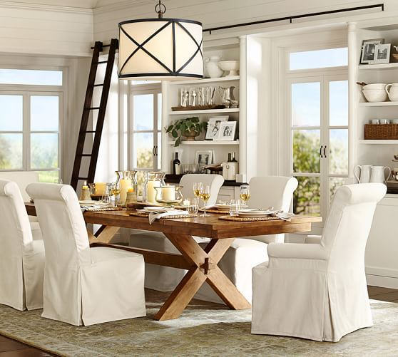 Pottery Barn Toscana Extending Dining Table Shown In