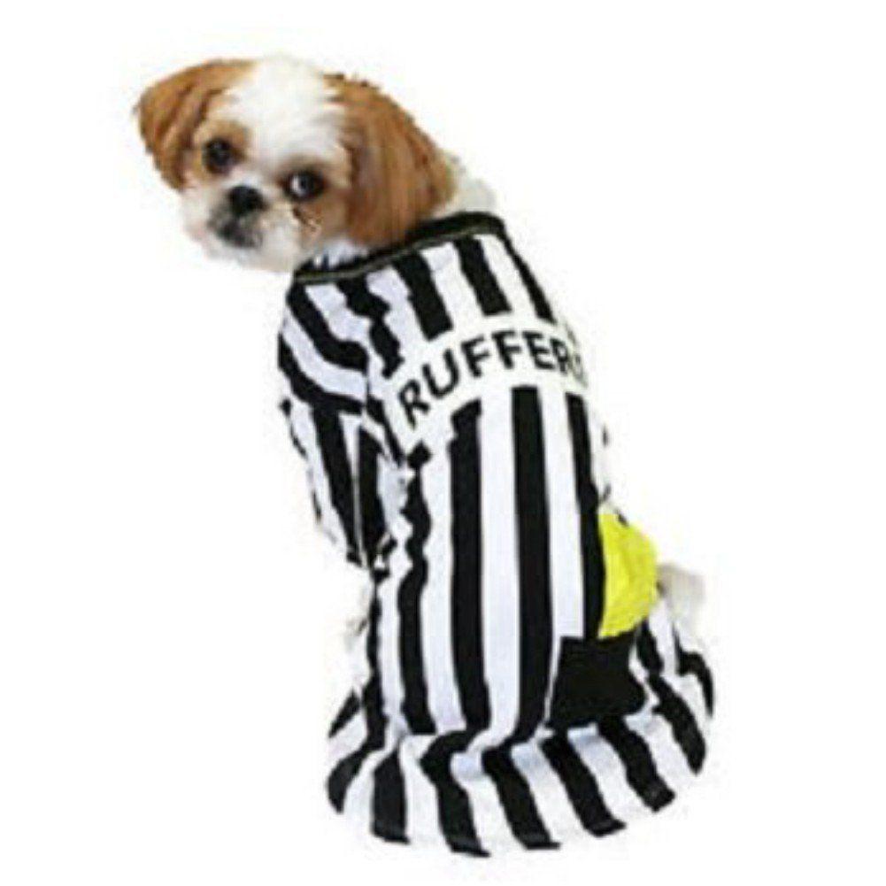 Rufferee Dog Costume Striped Referee Pet Tee Halloween T Shirt