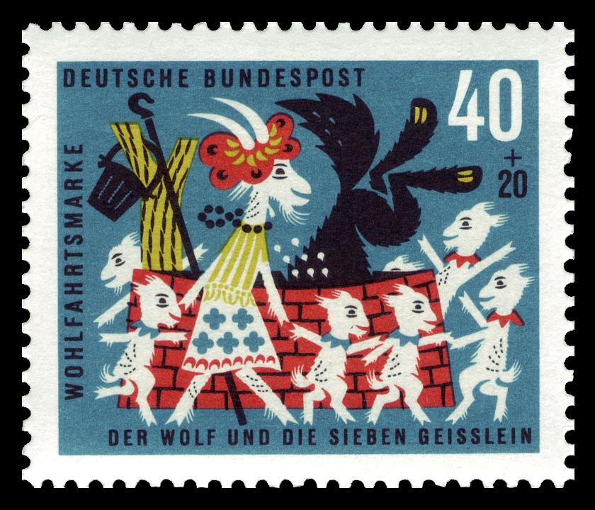 Deutsche Bundespost 1963 Der Wolf und die sieben