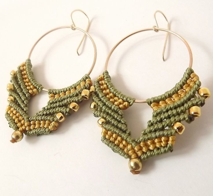 Macrame Earrings - Bronze Hoops, Gold and Olivine with golden beads, Autumn Colors. $60.00, via Etsy.: