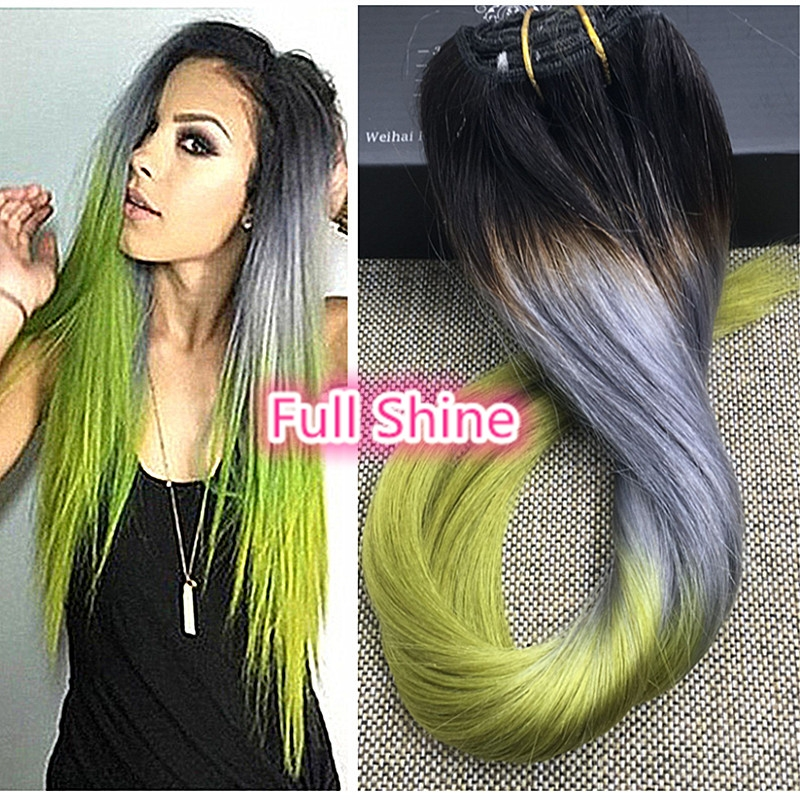 44.99$  Buy here - http://ali7k1.worldwells.pw/go.php?t=32690301718 - Full Shine Brazilian Double Weft Clip Extensions Three Tone Color 1B Silver Green Clip in Hair Extensions Ombre Clip ins Hair