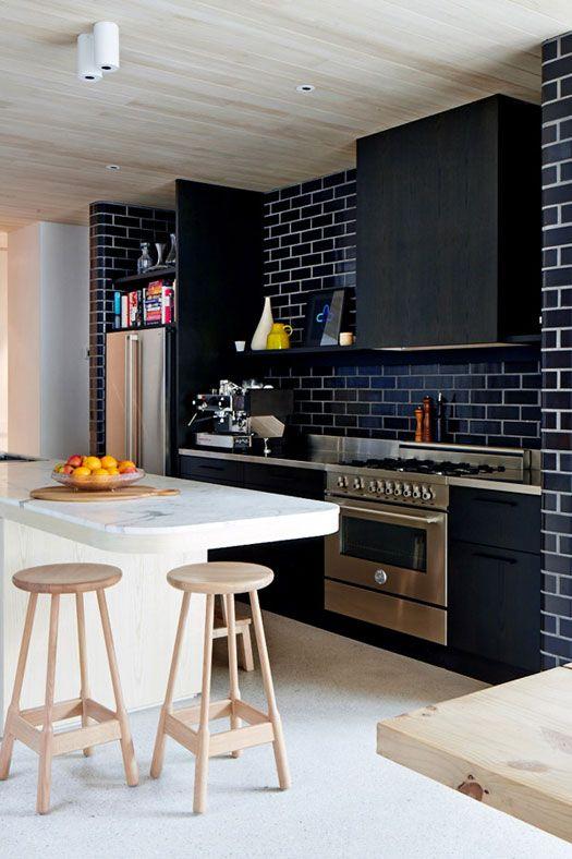 Blanc Noir Bois Jaune Cuisine Coin Repas Pinterest - Meuble de cuisine jaune pour idees de deco de cuisine