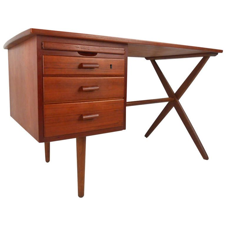 Exquisite Mid Century Modern Danish Teak Writing Desk At 1stdibs Teak Desk Modern Desk